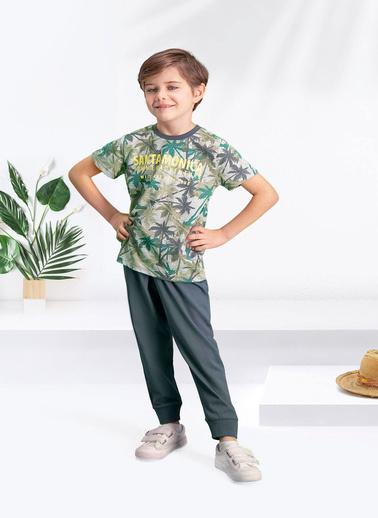 Arnetta  Santa Monica Gri-Yeşil Erkek Çocuk Pijama Takımı Gri